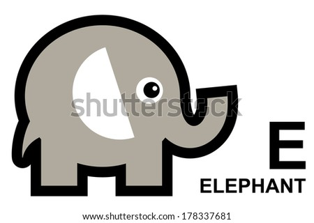 illustration of isolated animal alphabet. E is for elephant. Vector illustration.  - stock vector