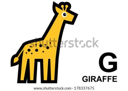 illustration of isolated animal alphabet.G is for giraffe. Vector illustration.  - stock vector