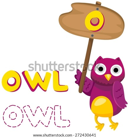 illustration of isolated animal alphabet o with owl - stock vector