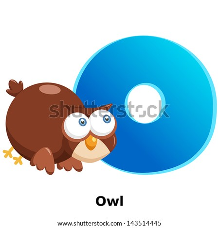 illustration of isolated animal alphabet O with owl on white - stock vector
