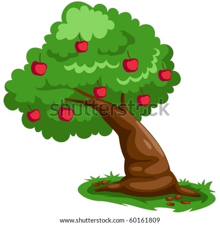 illustration of isolated apple tree on white background - stock vector