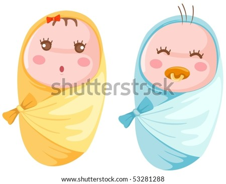 illustration of isolated babies twins in the wrap - stock vector