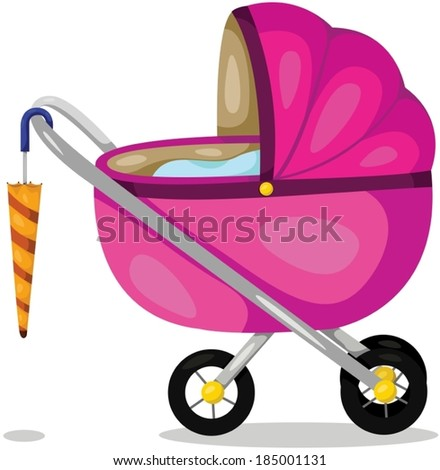 illustration of isolated baby pram on white background - stock vector