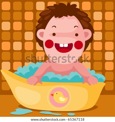 illustration of isolated baby takes a bubble bath in bathroom - stock vector