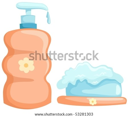 illustration of isolated bath bottle and soap  on white background - stock vector