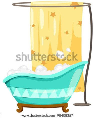 Merveilleux Illustration Of Isolated Bath Tube With Shower Curtain