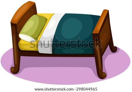 illustration of isolated bed on white background  - stock vector