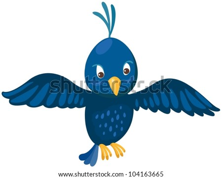 illustration of isolated blue bird on white background - stock vector