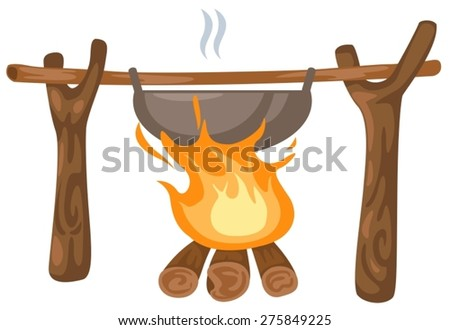 illustration of isolated bonfire with camping pot on white