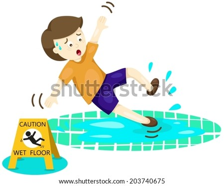 illustration of isolated boy falling on wet floor