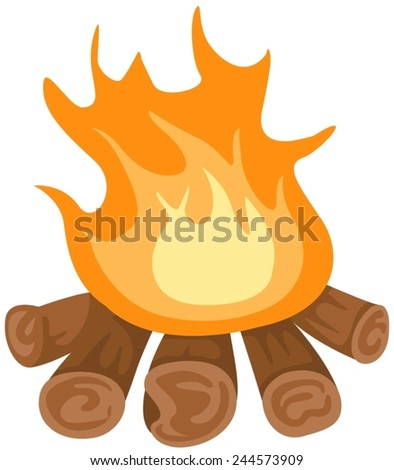 illustration of isolated camp fire on white background - stock vector