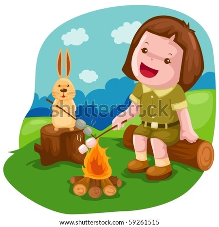illustration of isolated camping girl roasting marshmallow