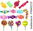 illustration of isolated candies set on white background - stock vector