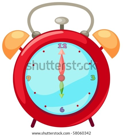 illustration of isolated cartoon alarm clock on white background - stock vector