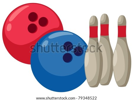 illustration of isolated cartoon bowling on white - stock vector