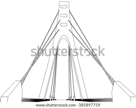 illustration of isolated cartoon bridge on white
