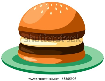 illustration of isolated cartoon burger on white background - stock vector