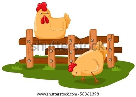 illustration of isolated cartoon chicken on white - stock vector