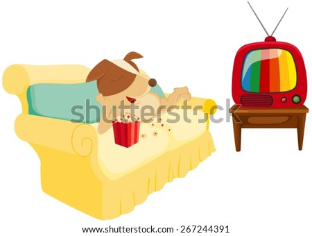 illustration of isolated cartoon dog chilling with popcorn and  television  - stock vector