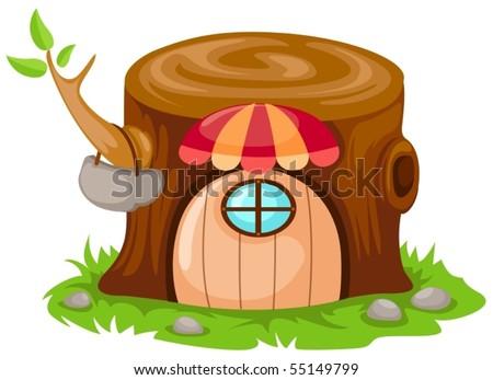 illustration of isolated cartoon fairy tale house on white - stock vector