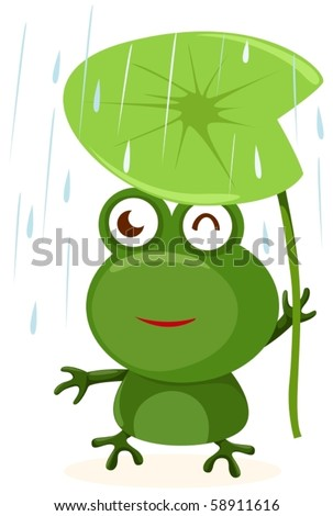 illustration of isolated cartoon frog with leaf on white - stock vector
