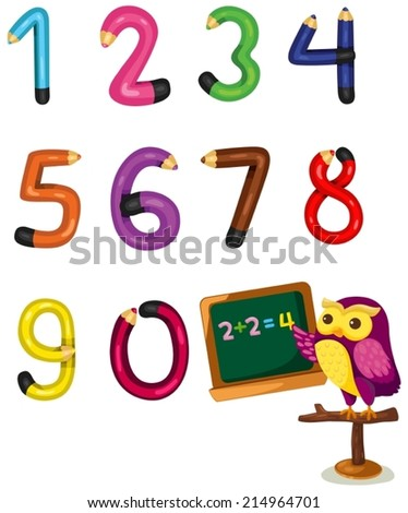 illustration of isolated cartoon owl teaching numbers mathematics  - stock vector