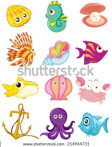 illustration of isolated cartoon set of sea animals