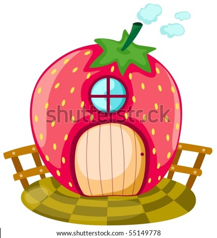illustration of isolated cartoon strawberry house on white - stock vector