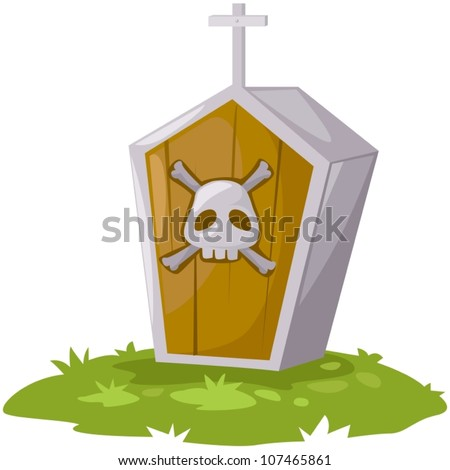 illustration of isolated casket on white background - stock vector