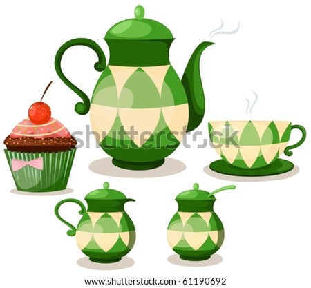 illustration of isolated coffee set or tea set and cup cake - stock vector