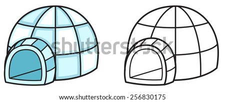 Illustration of isolated colorful and black and white igloo for coloring book - stock vector