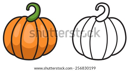 Illustration of isolated colorful and black and white pumpkin  for coloring book - stock vector