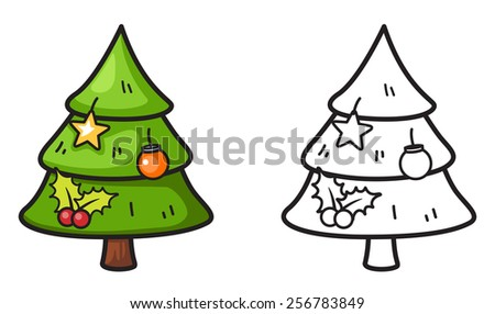 illustration of isolated colorful and black and white x-mas tree for coloring book - stock vector