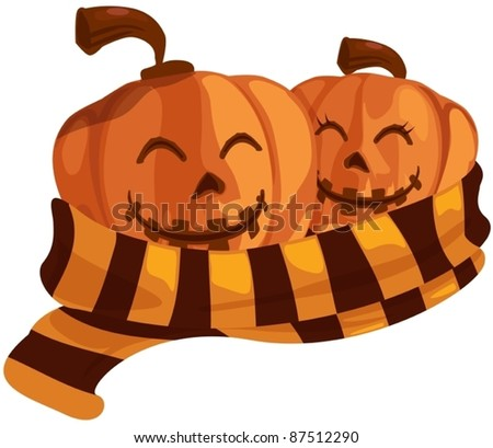 illustration of isolated couple halloween pumpkin with scarf - stock vector