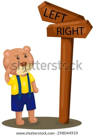 illustration of isolated cute bear lost direction  - stock vector