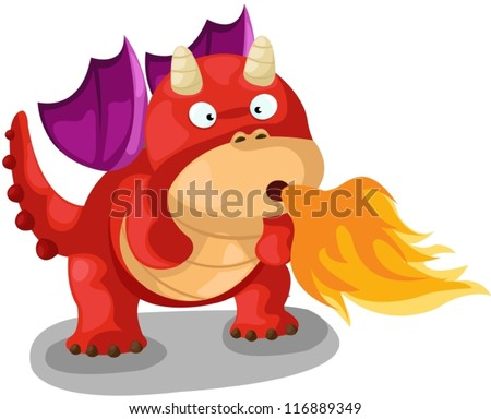 illustration of isolated cute dragon blow fire on white - stock vector