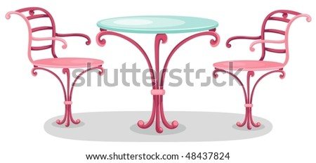 illustration of isolated cute furniture on white background - stock vector