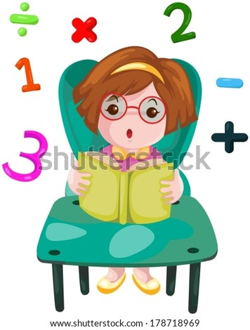illustration of isolated cute girl studying mathematics - stock vector