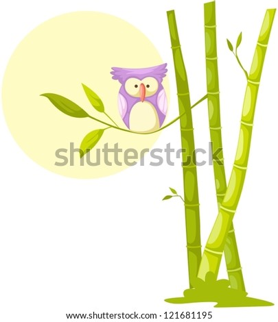 illustration of isolated cute owl sitting on bamboo tree - stock vector
