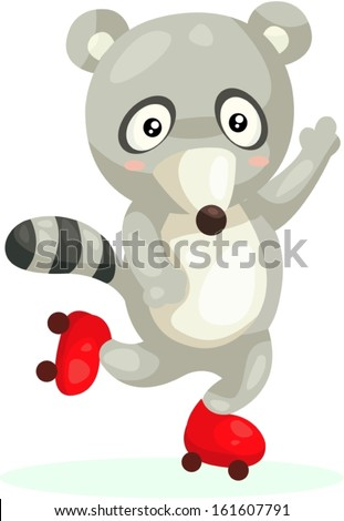 illustration of isolated cute raccoon on a skating  - stock vector