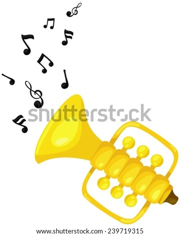 illustration of isolated cute trumpet with melody - stock vector
