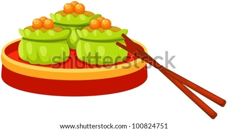 illustration of isolated dim sum chinese food with chopstick - stock vector