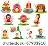 illustration of isolated fairytale set on white background - stock vector