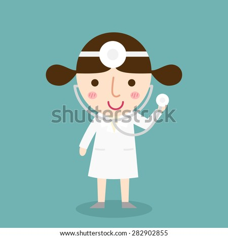 illustration of isolated female doctor vector