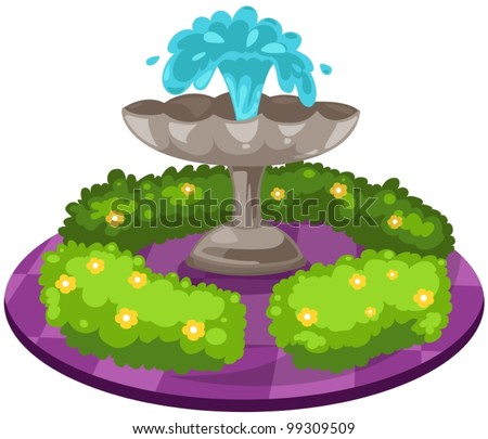 illustration of isolated  fountain on white background - stock vector