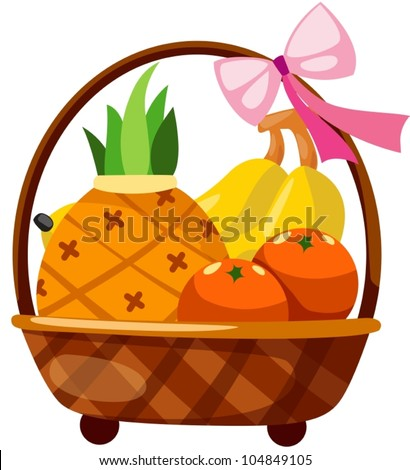 illustration of isolated fruits in basket on white - stock vector