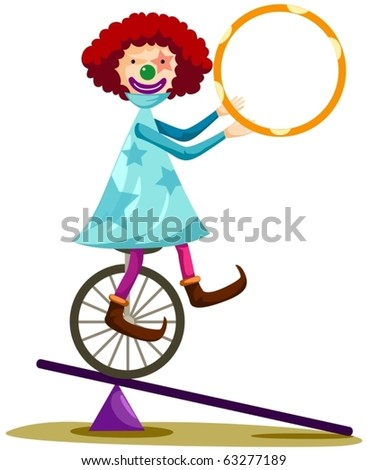 illustration of isolated funny clown cycling on white - stock vector