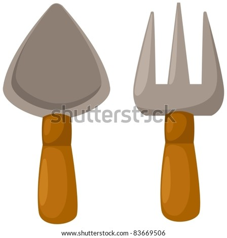 illustration of isolated garden tools on white background - stock vector