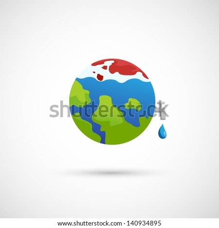 illustration of isolated global warming icon vector - stock vector