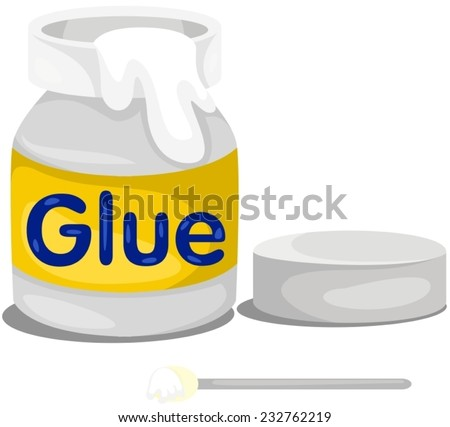 illustration of isolated glue bottle on white